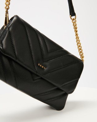 DKNY Vivian Quilted Cross Body Bag - Clutches (Black & Gold)