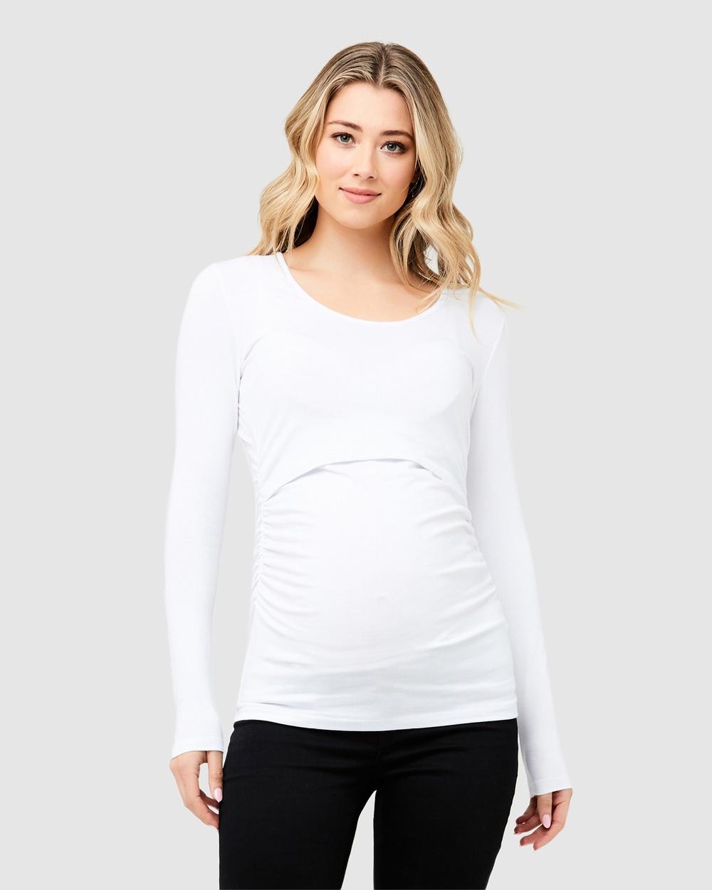 Ripe Maternity Ali Up Down Nursing Long Sleeve Tee Tops White Ali Up-Down Nursing Long Sleeve Tee