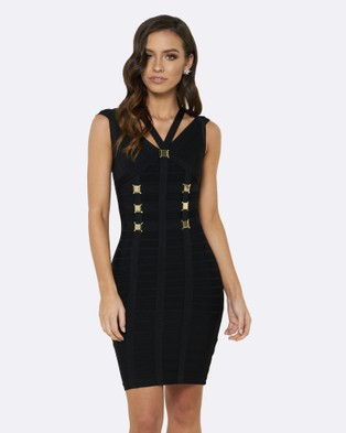 Honey Couture – Nicole Bandage Dress – Bodycon Dresses Black