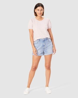French Connection Washed Puff Sleeve T Shirt - T-Shirts & Singlets (WASHED PINK)