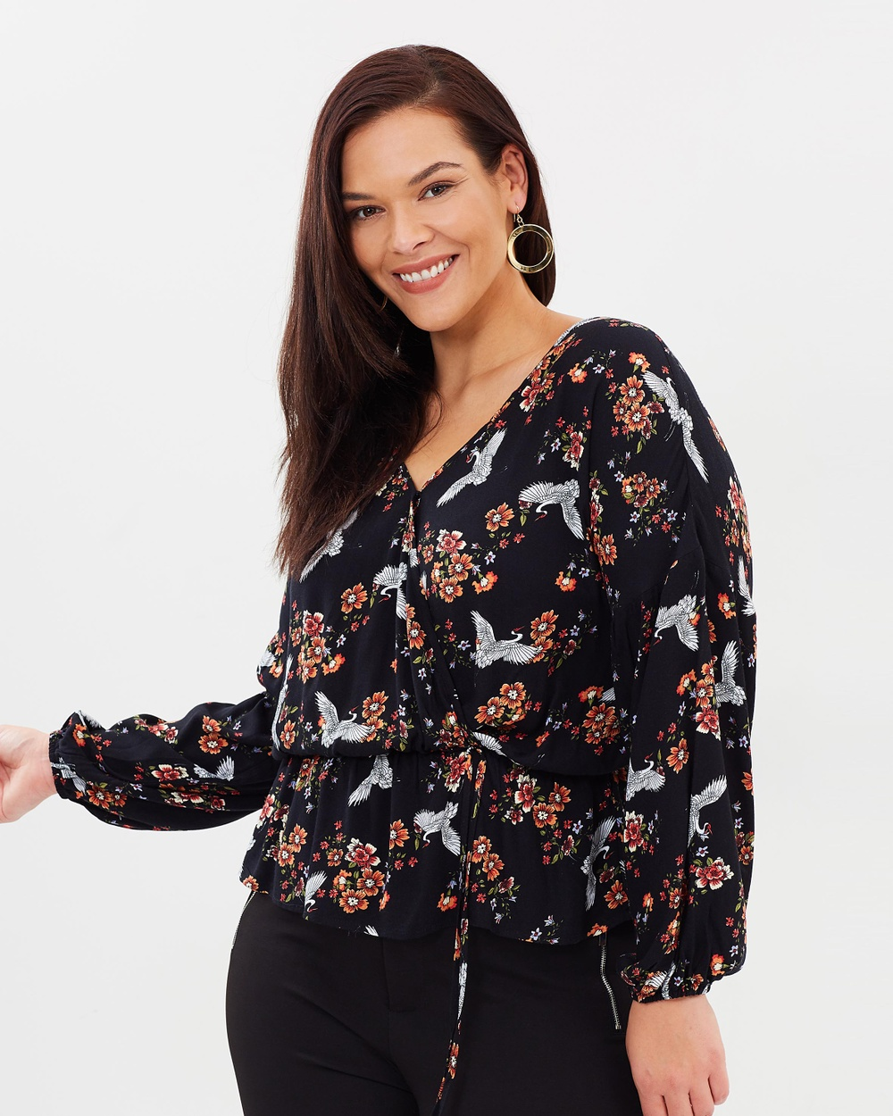 Atmos & Here Curvy ICONIC EXCLUSIVE Aurora Wrap Top Tops Oriental Black Floral ICONIC EXCLUSIVE Aurora Wrap Top