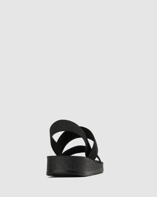 Betts - Rise Elastic Low Wedge Sandals (Black)