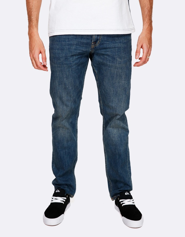 Quiksilver - Mens Revolver Medium Blue Straight Fit Jean