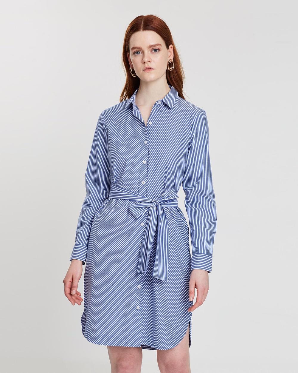 Sportscraft Blue & White Elly Tie Front Shirtdress