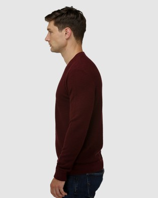 Brooksfield 'V' Panel Crew Neck Sweater - Jumpers & Cardigans (Wine)