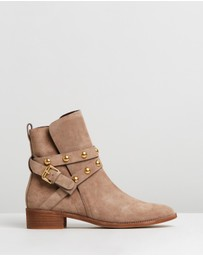See By Chloé - Studded Wrap Leather Flat Boots
