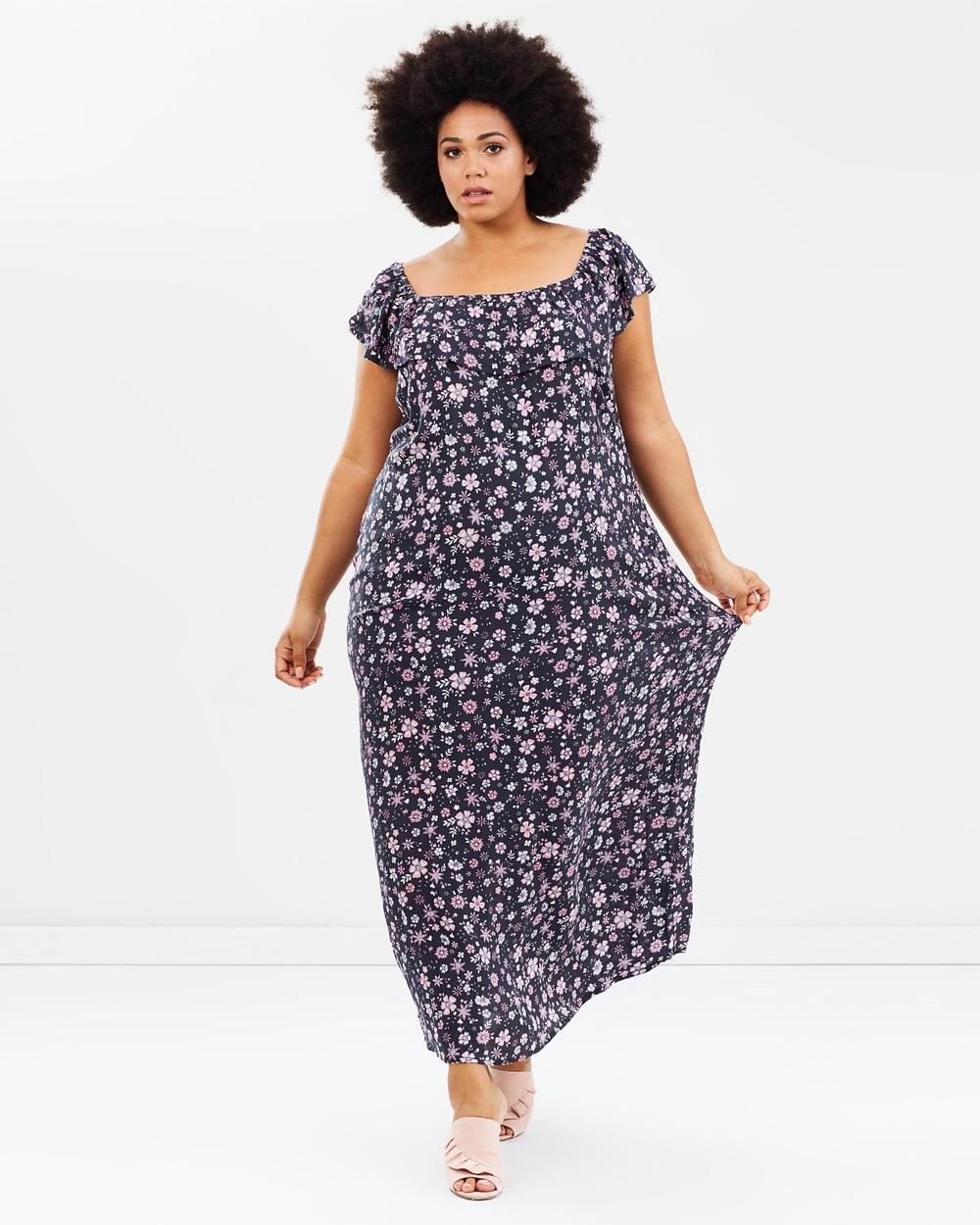 EVANS Floral Gypsy Maxi Dress Dresses Dark Multi Floral Gypsy Maxi Dress