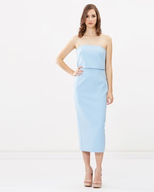 Romance by Honey and Beau – Marcie Strapless Dress Soft Blue