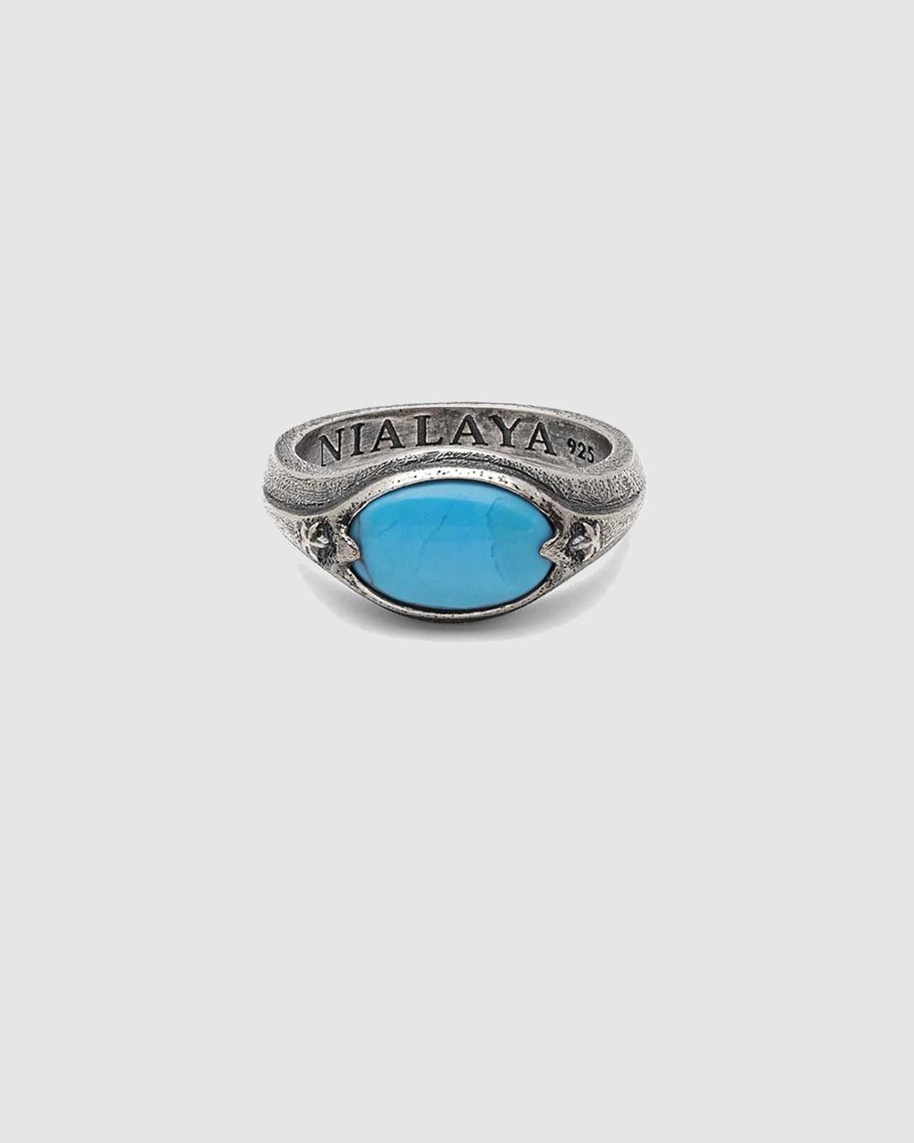 Nialaya Jewellery Men's Signet Ring Silver