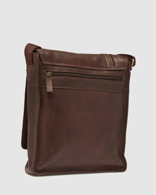 Oxford Oak Leather Messenger Bag - Bags (Brown)