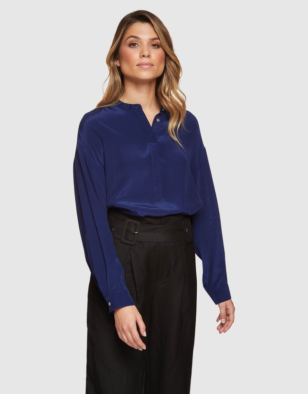 Oxford - Ruby Collarless Blouse