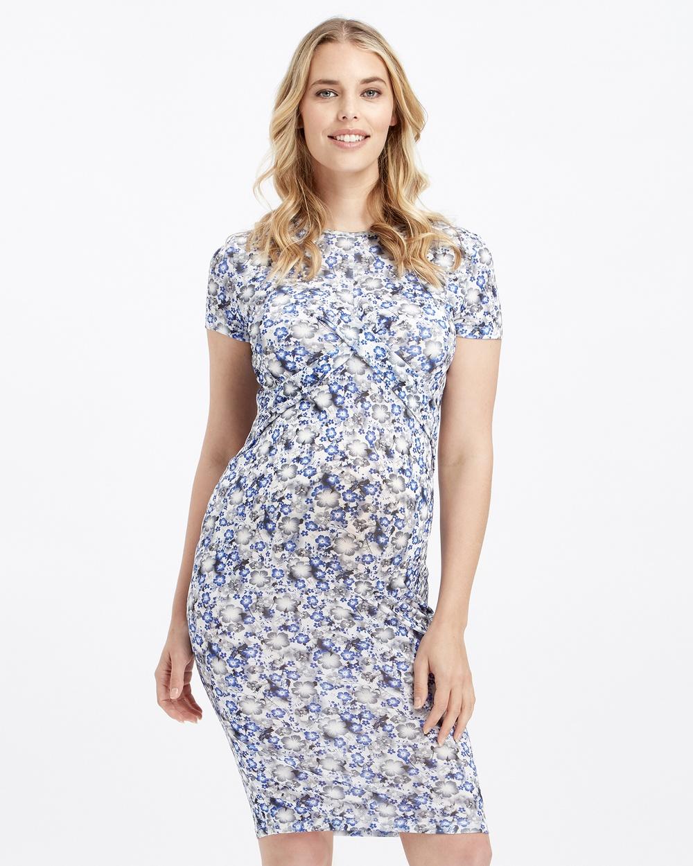Glow Mama Blue Zoe Maternity Dress
