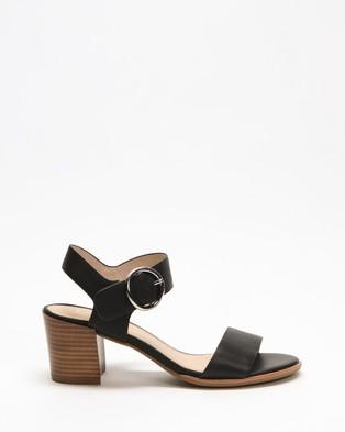 Jo Mercer Bowie Mid Heel Sandals - Mid-low heels (Black Leather)