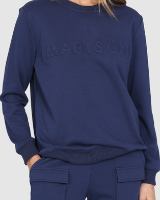 Madison The Label Madison Embossed Sweater - Sweats (Navy)