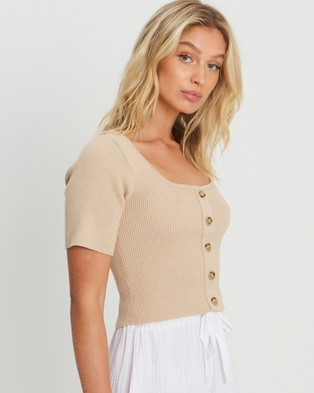 The Fated Rosie Knit Top - Tops (Tan)