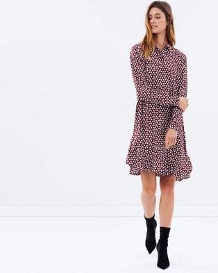 Maison Scotch – Flounce Hem Shirt Dress – Dresses (Red Print)