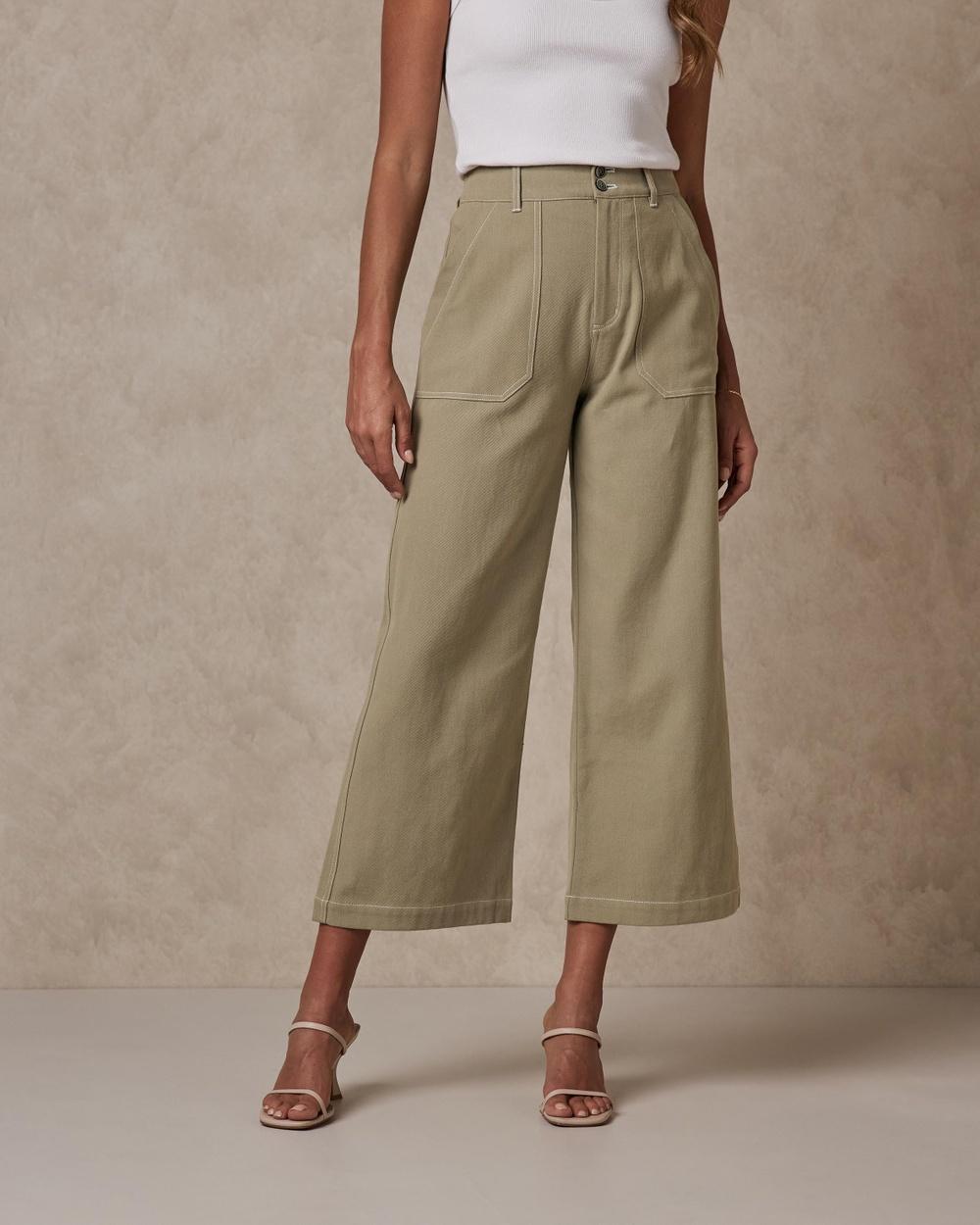 AERE Organic Cotton Canvas Pants Green