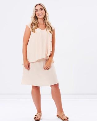 Advocado Plus – Odette Layered Dress – Dresses (Champagne)