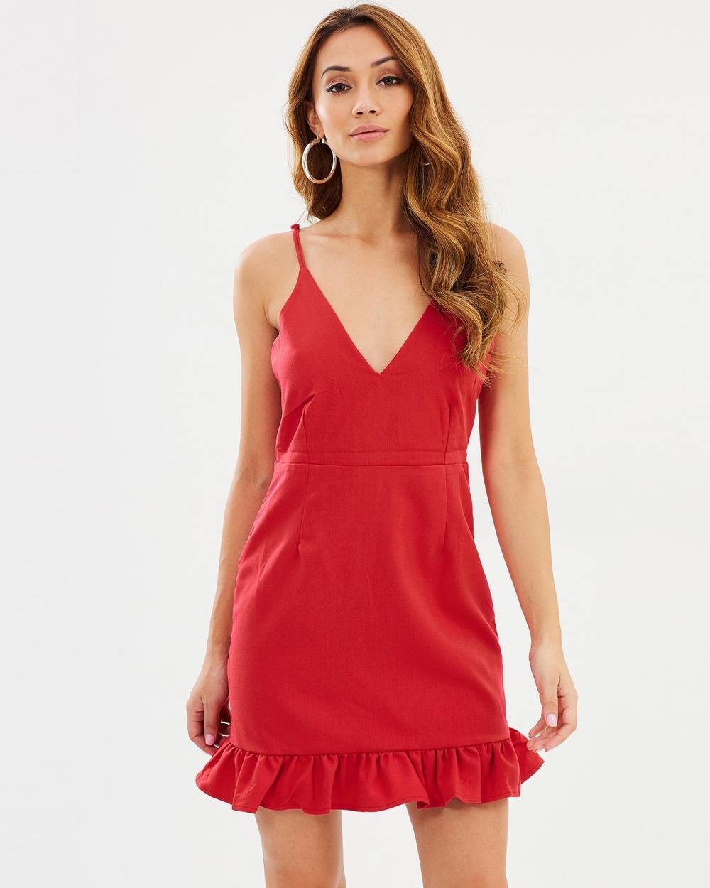 Missguided Crepe Plunge Frill Hem Body Con Dress Dresses Red Crepe Plunge Frill Hem Body-Con Dress