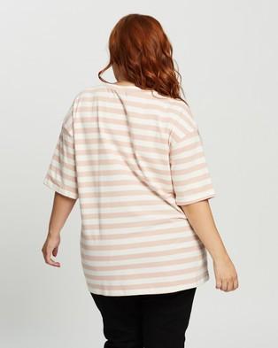 Atmos&Here Curvy Harry Boyfriend Tee - T-Shirts & Singlets (Pink & White Stripe)