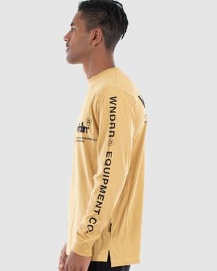 WNDRR - In Line Long Sleeve Tee - Long Sleeve T-Shirts (Almond) In Line Long Sleeve Tee