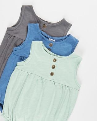 Cotton On Baby Craigelina Singlet Bubbysuit 3 Pack   Babies - Bodysuits (Smashed Avo, Petty Blue & Rabbit Grey)
