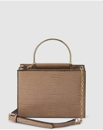 Olga Berg - Floss Square Croc Metal Handle Bag