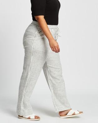 Atmos&Here Curvy Maja Stripe Cotton Pants - Pants (Stripe)