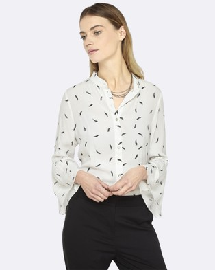 Oxford – Hannah Feather Print Blouse Ivory