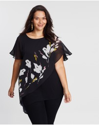 EVANS - Floral Overlay Top