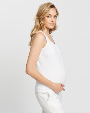 Cotton On Maternity 3 Pack Maternity Henley Sleeveless Tank - Maternity Singlets (White)