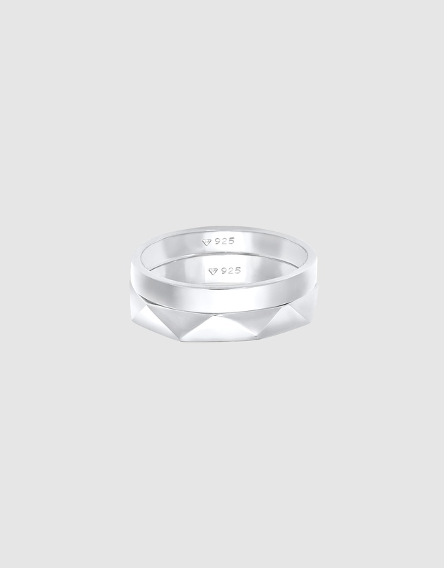 Women Ring Bandring Basic Hexagon Look Set of 2 in 925 Sterling Silver