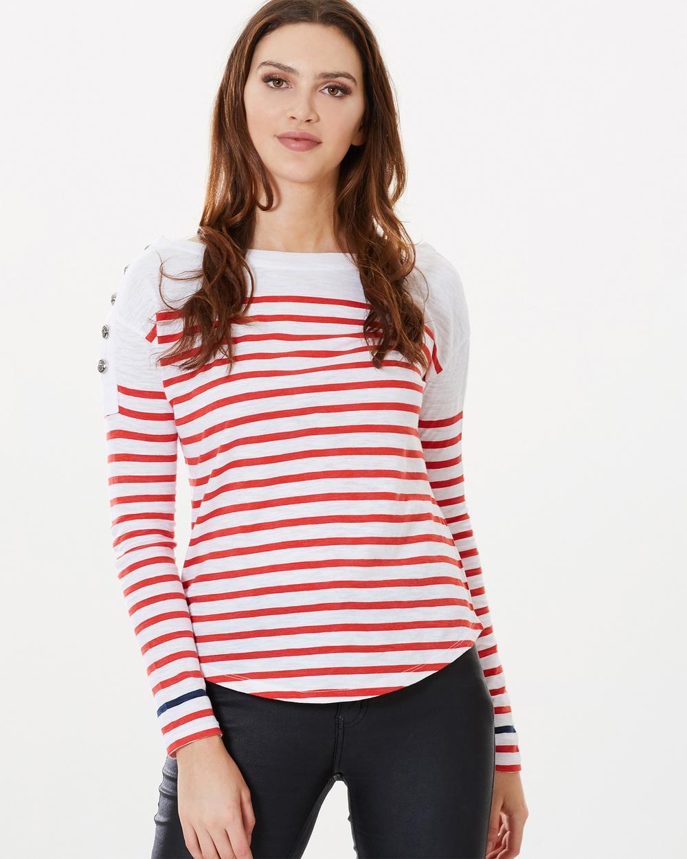 Sophie Moran Nautical Top Tops Red & White Nautical Top