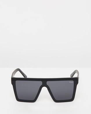 Quay Australia Hindsight Black Square Sunglasses - Square (Black & Smoke)
