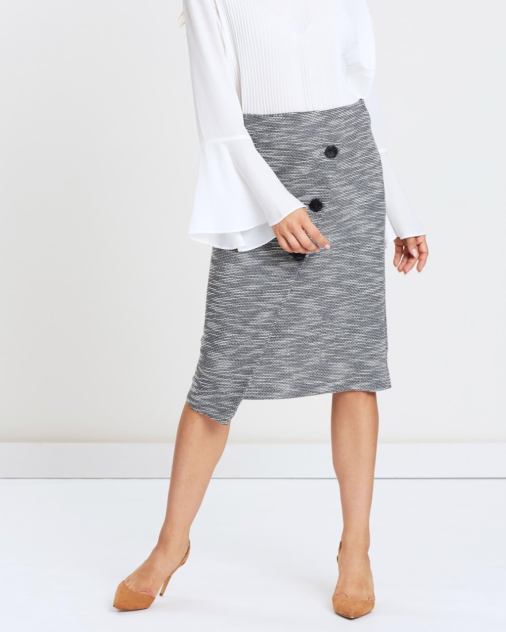 6b00e45210 Textured Midi Wrap Skirt by Wallis Online | THE ICONIC | Australia