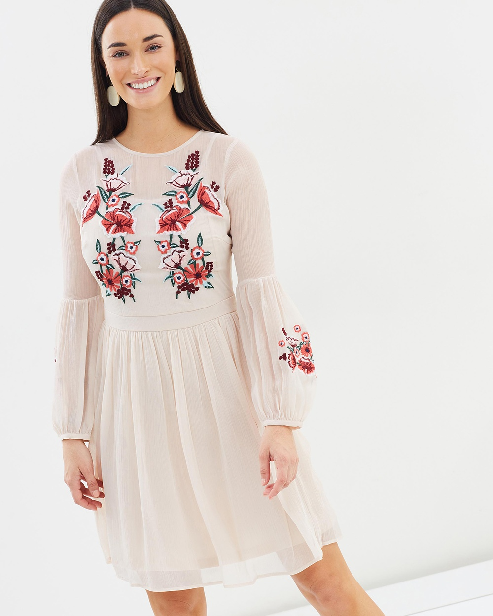 Dorothy Perkins Embroidered Chiffon Dress Dresses Blush Embroidered Chiffon Dress