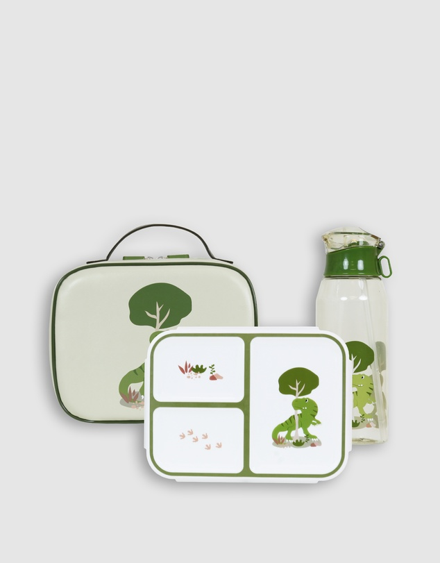 Bobbleart - Large Lunch Bag Bento Box and Drink Bottle T-Rex