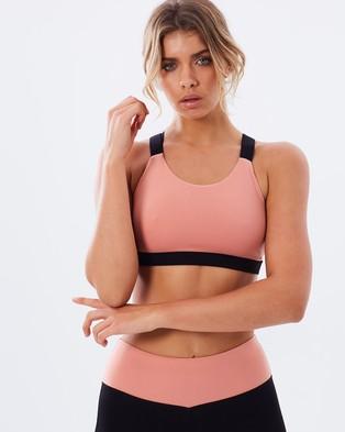 Atmos Active – Work It Cross Strap Bralette – Crop Tops (Pastel Pink & Black)