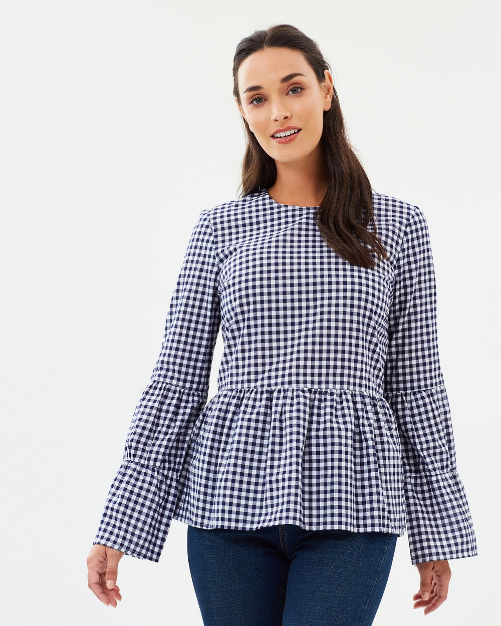 Warehouse Gingham Smock Top Tops Navy White Gingham Smock Top