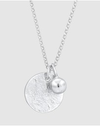 Elli Jewelry - Necklace Coin Pendant Organic Look Geo in 925 Sterling Silver