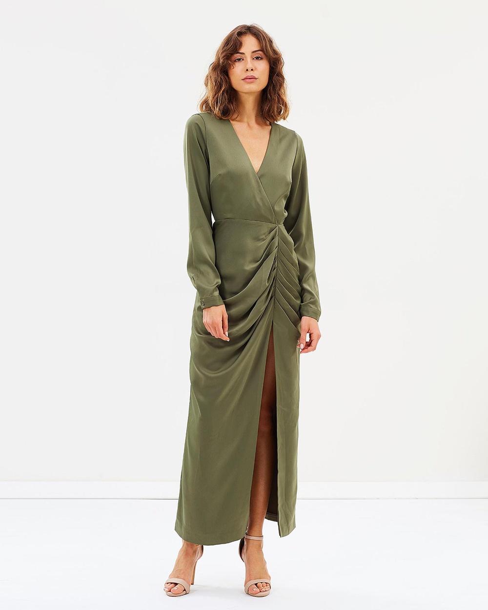 Friend of Audrey Valerie Thigh Split Dress Dresses Olive Valerie Thigh Split Dress