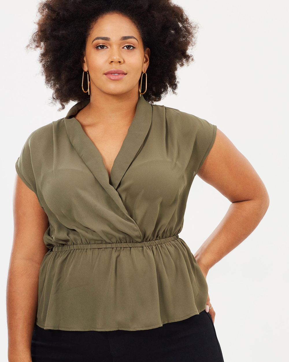 Atmos & Here Curvy ICONIC EXCLUSIVE Andrea Collar Top Tops Khaki ICONIC EXCLUSIVE Andrea Collar Top