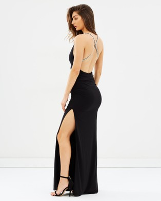 SKIVA – Cross Strap Evening Dress Black