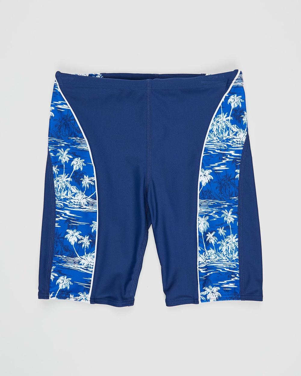 Bluesalt Beachwear Hawaiian Palms Swim Jammer Pants Teens Swimwear Navy Blue