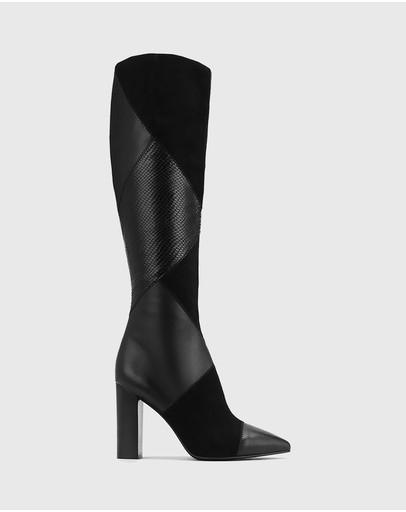 Wittner Hawn Patchwork Leather Block Heel Long Boots Black
