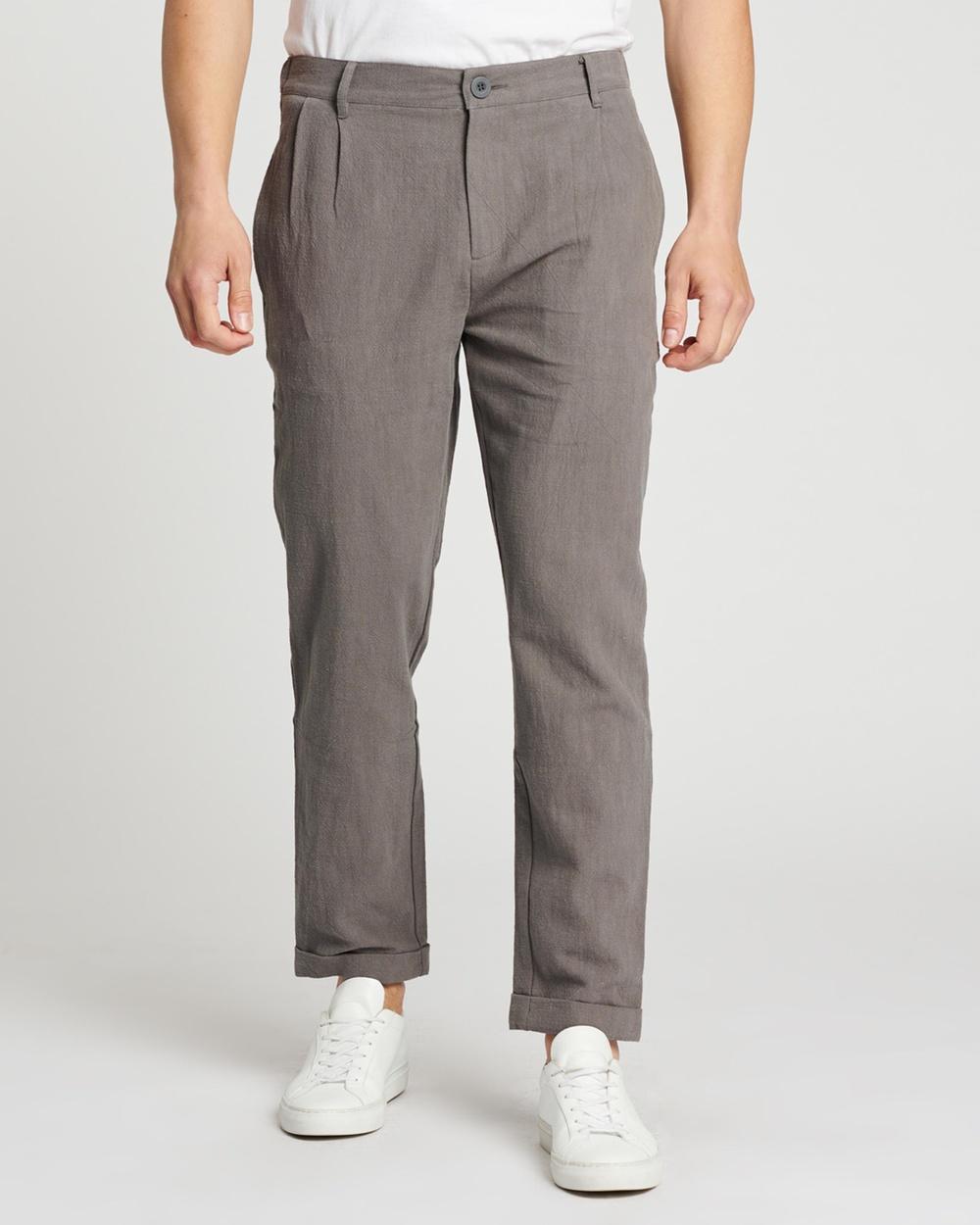 AERE Ramie Pleated Pants Charcoal