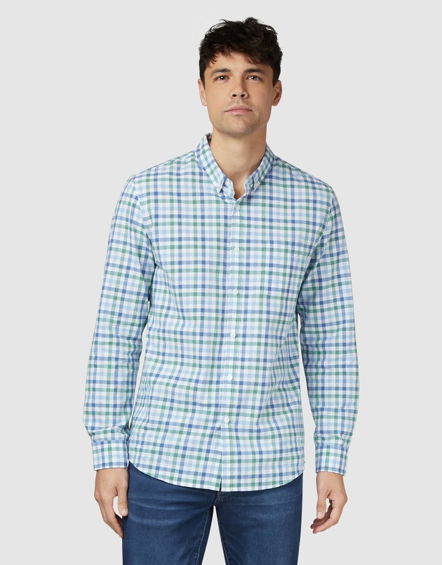 Men Harry Long Sleeve Check Shirt Blue Green Multi