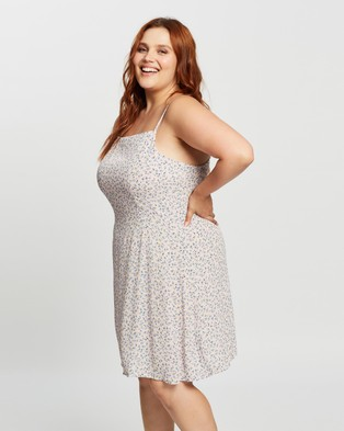 Cotton On Curve Woven Kendall Dress - Printed Dresses (Hilda Ditsy & Frosty Lilac)
