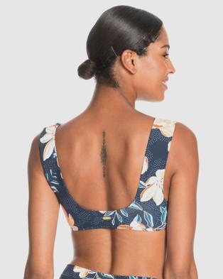 Roxy Womens Bu Lilies Surf Bralet Separate Bikini Top - Bikini Tops (MOOD INDIGO HAPPY DA)