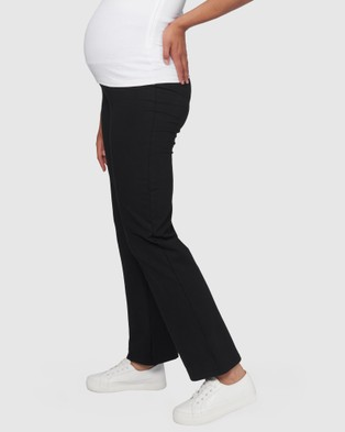 Pea in a Pod Maternity Jo Fold Waist Active Pants - Maternity Tights (Black)